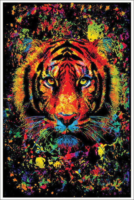 "Tiger Splatter Non-Flocked Blacklight Poster 24"" x 36"""