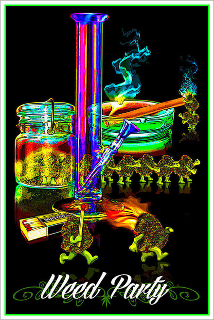 "Weed Party Non-Flocked Blacklight Poster 24"" x 36"""