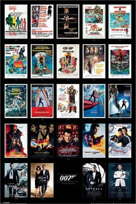 "James Bond - 24 Movie Posters Poster 24"" x 36"""