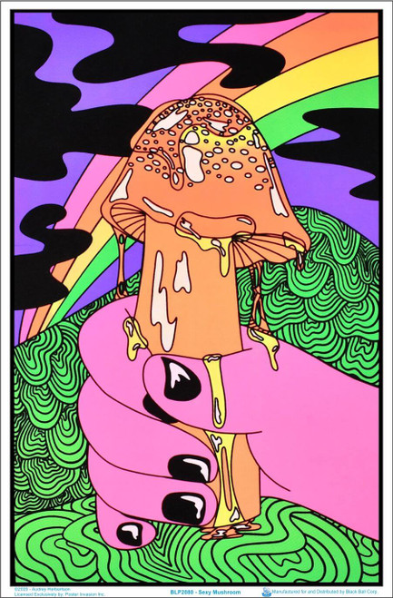 "Sexy Mushroom by Audrey Herbertson Blacklight Poster - Flocked - 23"" x 35"""