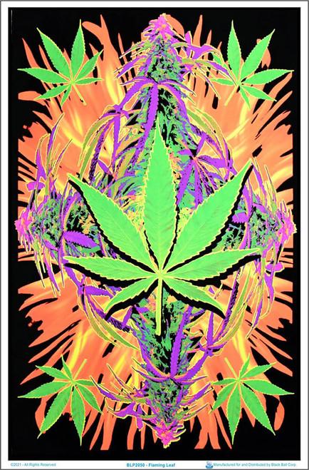 """Flaming Leaf Blacklight Poster - Flocked - 23"""" x 35"""""""
