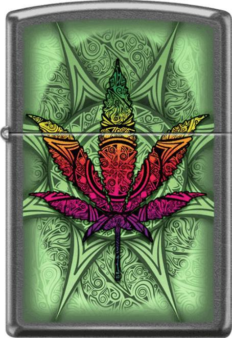 Psychedelic Leaf Grey Dusk Zippo Lighter
