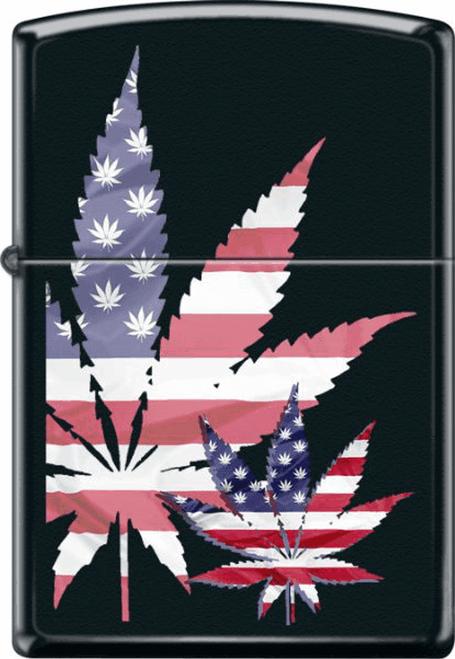 USA Leaf Black Matte Zippo Lighter