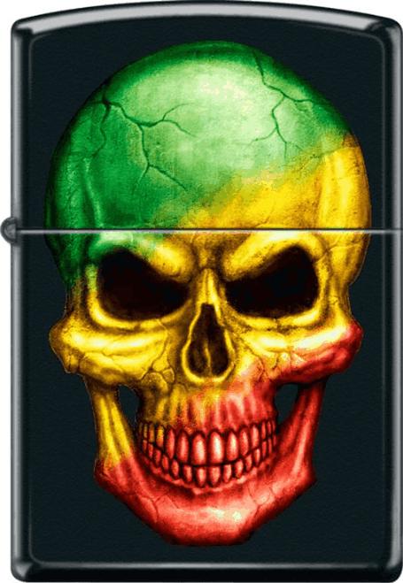 Rasta Tri-Color Skull Black Matte Zippo Lighter