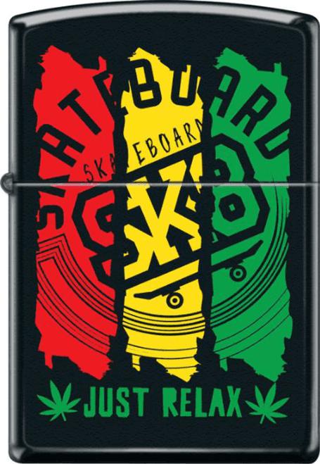SK8 Just Relax Black Matte Zippo Lighter
