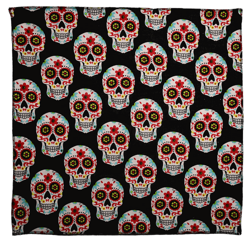 "Bandana - Day of the Dead - 21"" x 21"" - Cotton"