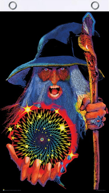 Mystic Wizard Blacklight Reactive Fly Flag 3' x 5'
