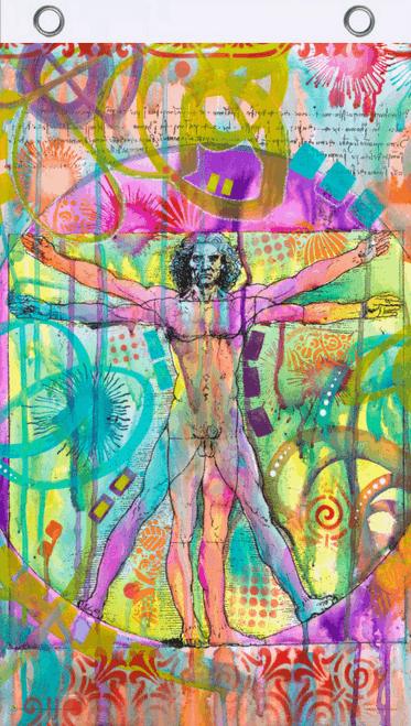 Vitruvian Man by Dean Russo Blacklight Reactive Fly Flag 3' x 5'
