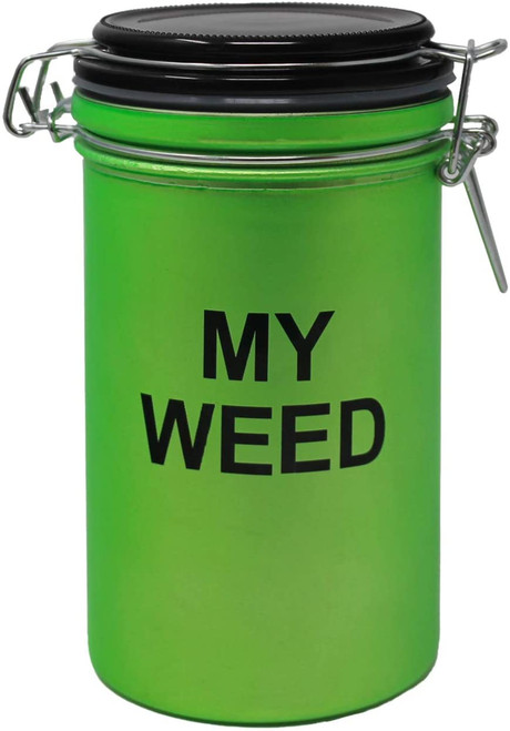 """My Weed Frosted Neon Green XL Stash Jar - 6"""" Tall 16oz Capacity"""
