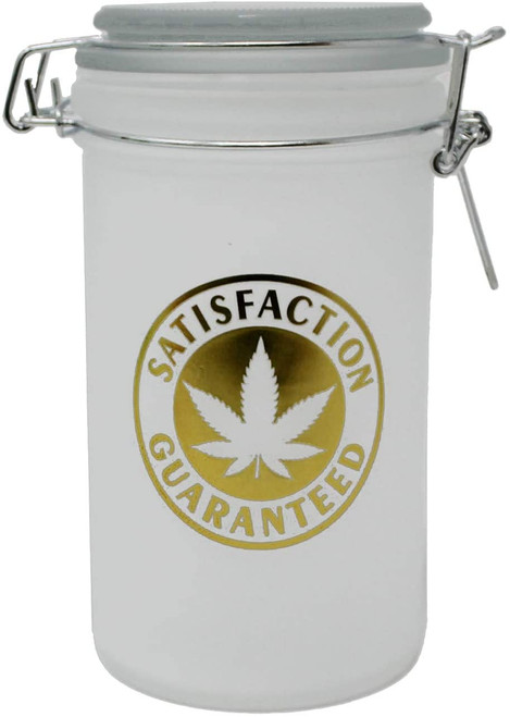 """Satisfaction Guaranteed Frosted White and Metallic Gold XL Stash Jar - 6"""" Tall 16oz Capacity"""