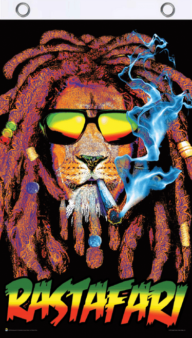 Rastafari Lion Blacklight Reactive Fly Flag 3' x 5'
