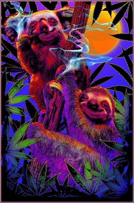 """High In The Bush Sloth/Koala Non-Flocked Blacklight Poster 24"""" x 36"""""""