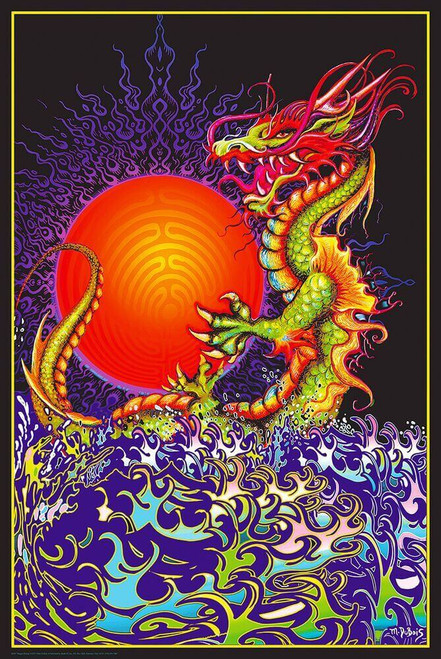"Dragon Rising Non-Flocked Blacklight Poster 24"" x 36"""