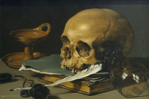 """Still Life With a Skull and a Writing Quill Mini Poster 18"""" x 12"""""""