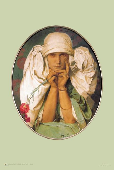 "Jaroslava Portrait by Alphonse Mucha Mini Poster 12"" x 18"""