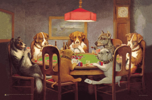 """Passing the Ace Under the Table (Dog's Playing Poker) by C.M. Coolidge Mini Poster 17"""" x 11"""""""