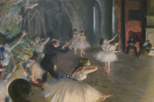 """The Rehearsal of the Ballet on Stage by Edgar Degas Mini Poster 18"""" x 12"""""""