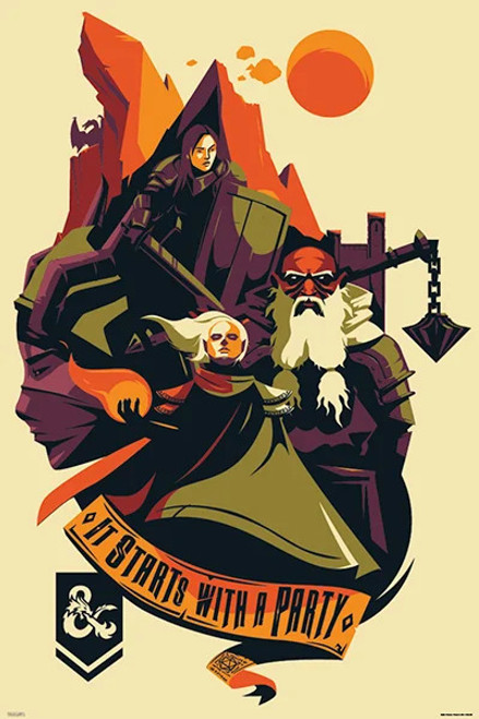 """Dungeons & Dragons - Starts With a Party Poster 24"""" x 36"""""""