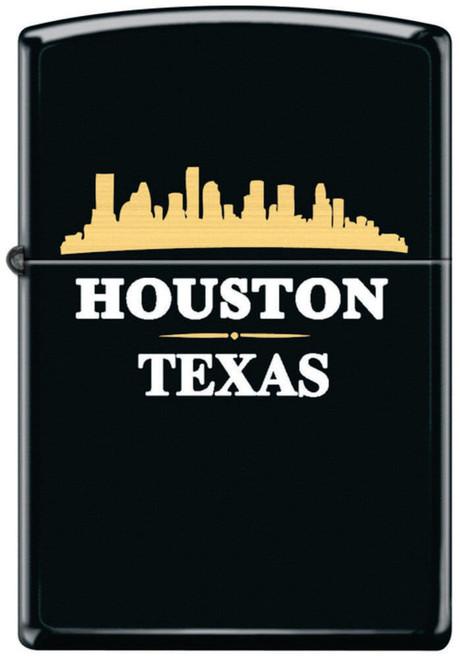 Houston Skyline Black Matte Zippo Lighter