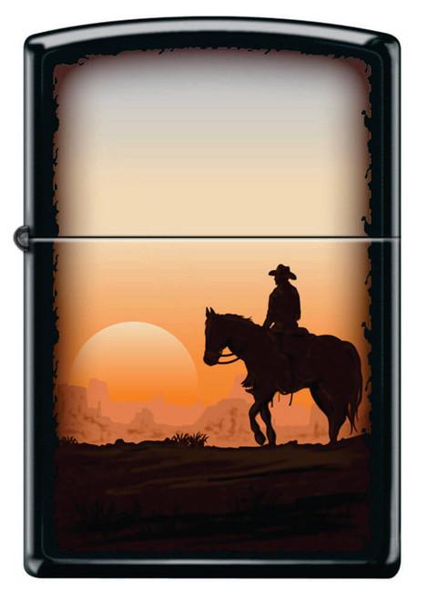 Cowboy Sunset Black Matte Zippo Lighter