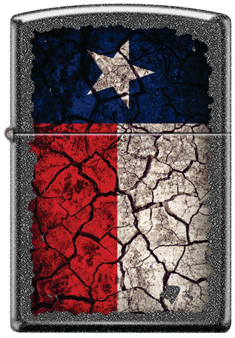 Texas Flag Cracked Iron Stone Zippo Lighter