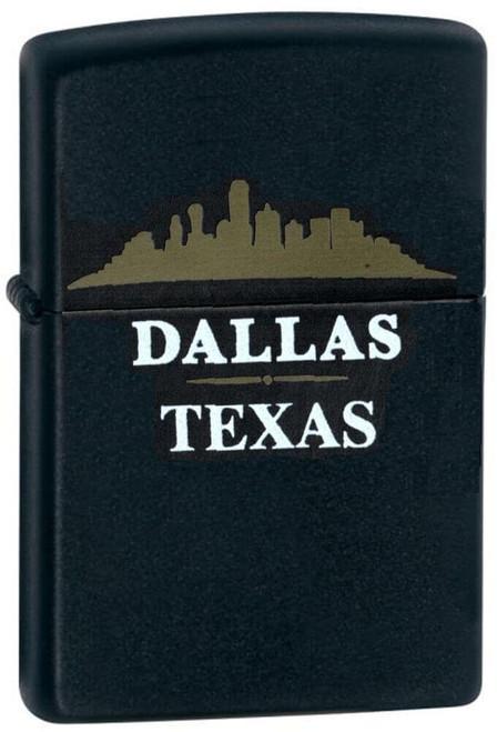Dallas Skyline Black Matte Zippo Lighter