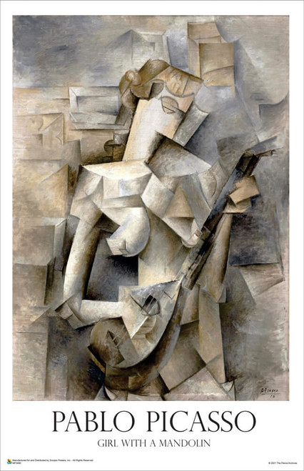 """Girl with a Mandolin 1910 by Pablo Picasso Mini Poster 11"""" x 17"""""""