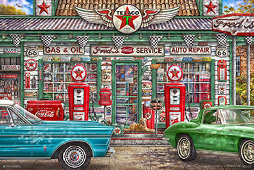 Freds Garage - Michael Fishel Poster 36in x 24in Image