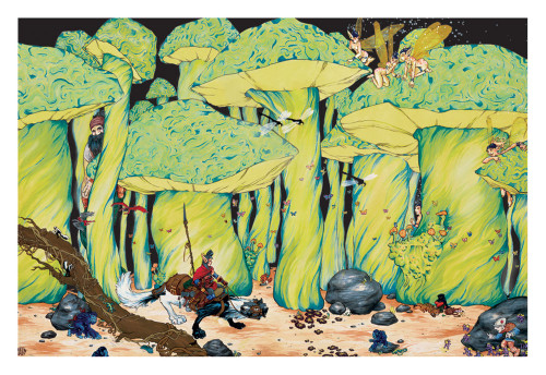 """Enchanted Forest Non-Flocked Blacklight Poster 32"""" X 22 Image"""
