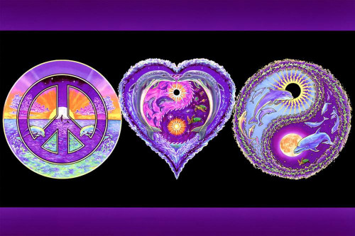"""Peace Love & Happiness Non-Flocked Blacklight Poster 24"""" X 36"""" Image"""
