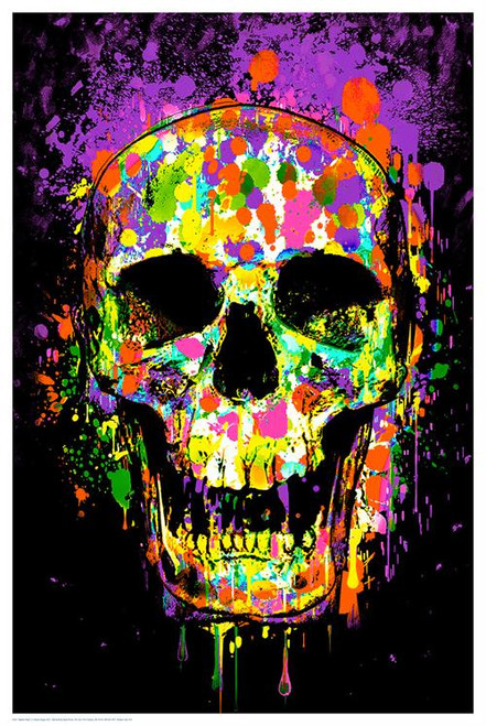 "Splatter Skull Non-Flocked Blacklight Poster 24"" X 36"" Image"