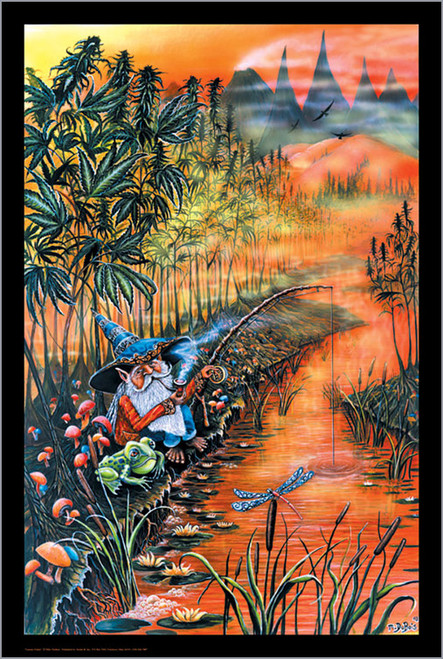 "Gnome Fishin Mike Dubois  Non-Flocked Blacklight Poster 24"" X 36"" Image"