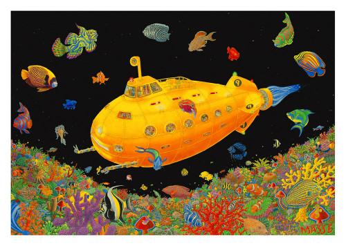 Yellow Submarine- Tom Masse  Non-Flocked Blacklight Poster Image