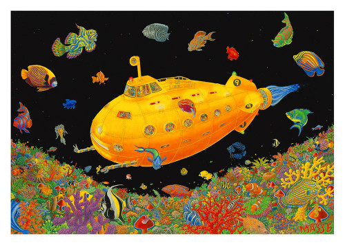 Yellow Submarine- Tom Masse  Non-Flocked Blacklight Poster Image