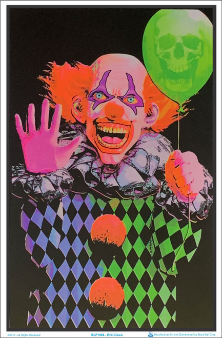 Evil Clown Black Light Poster 23 x 35 Image
