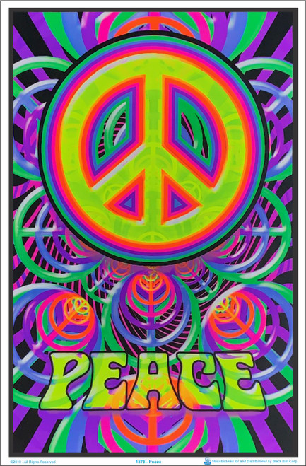 Peace Sign Blacklight Poster Image