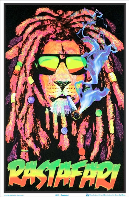 Rastafari Lion Blacklight Poster Image