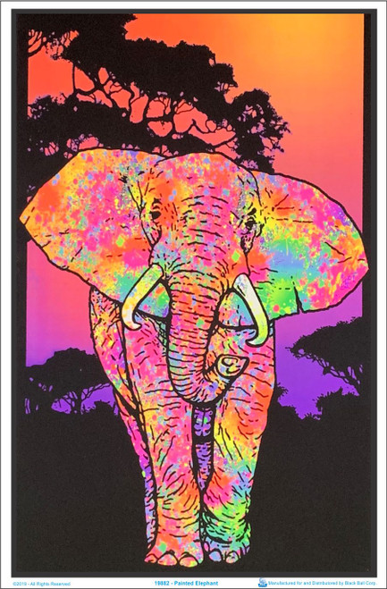 Painted Elephant Blacklight Poster Image