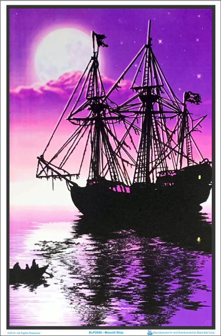Moonlit Pirate Ghost Ship Blacklight Poster Image