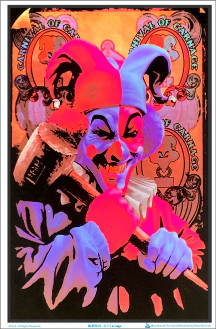 Image under blacklight of ICP - Insane Clown Posse Carnage Black Light Poster