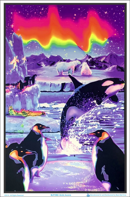 BLACKLIGHT POSTER 23X35 FLOCKED OCEAN SURFING TROPICAL 1983 SURF REEF