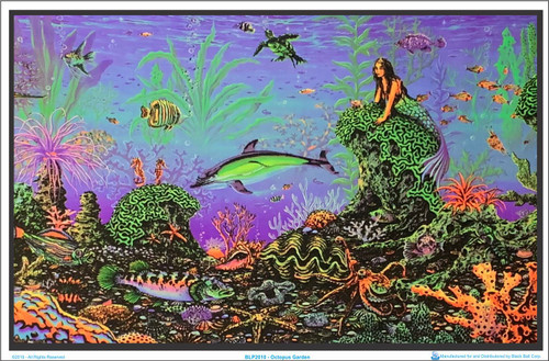 "Octopus Garden by: Michael Fishel Blacklight Poster - Flocked - 23"" x 35"" Image"
