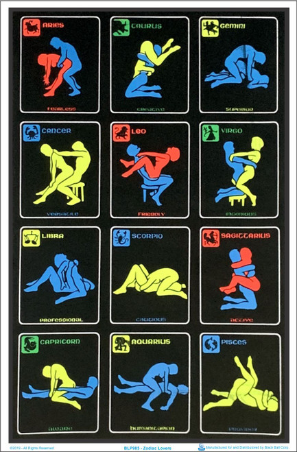 Zodiac Positions Blacklight Poster Image