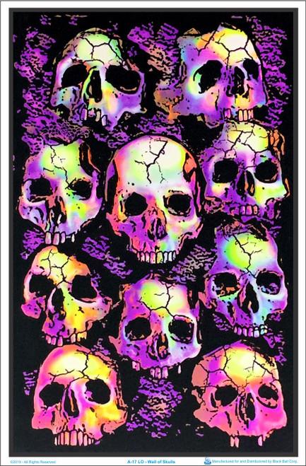 Wall of Skulls Blacklight Poster Image