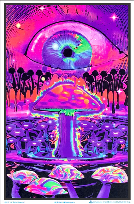 Mushrooms Blacklight Poster Image
