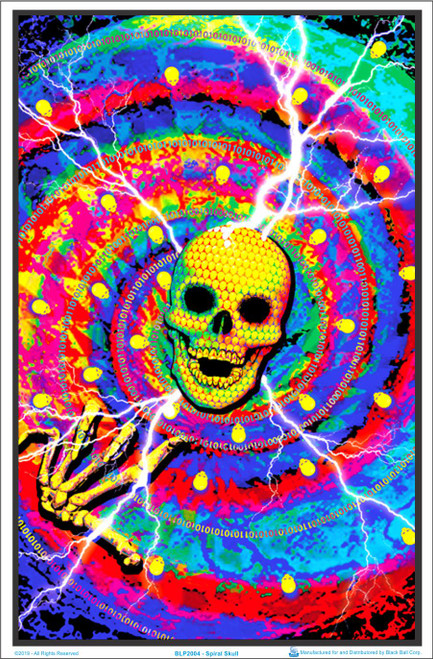 Spiral Skull Blacklight Poster Image