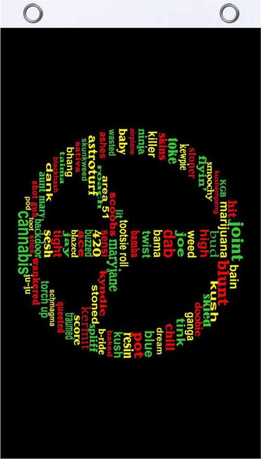 Rasta Peace Words Fly Flag 3' x 5' Image