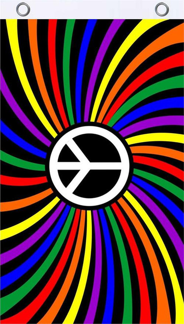 Rainbow Peace Fly Flag 3' x 5' Image