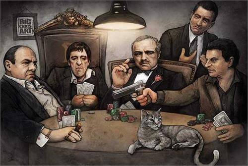 Gangsters Playing Poker Poster by: Big Chris 36-by-24 Inches Image