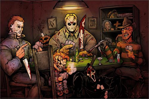Slashers Playing Poker by:  Big Chris 36-by-24 Inches Image